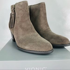 Vionic Madeline Leather Tassel Ankle Boots Greige